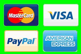 MasterCard, Visa, Paypal, American Express.